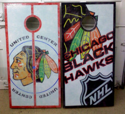 Custom Cornhole Set - Blackhawks