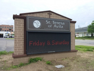 St. Theresa of Avila - Monument Sign with Electronic Message Center #2