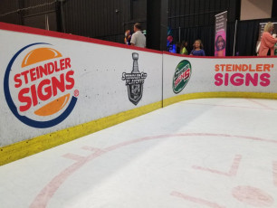 Valpo Chamber Hockey Booth - Routed Boards, Custom Logos and Digital Prints